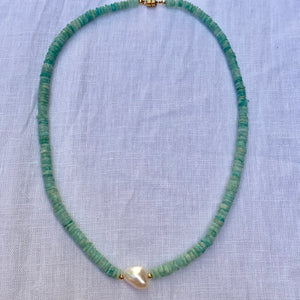 Sale! The Island amazonite & freshwater pearl necklace
