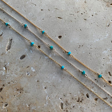 Fine chain turquoise necklace in gold or silver