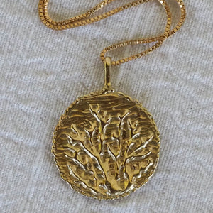 'Sale! 'Adele' Coral Medallion Necklace - 14ct gold