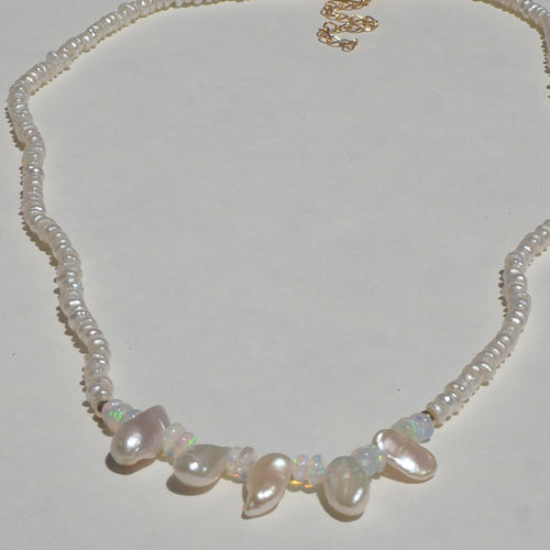 Opal & organic pearl drop beaded necklace