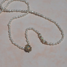 Gold opal sea urchin & freshwater pearl beaded necklace