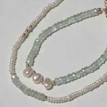 Aquamarine & pearl beaded necklace