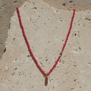 Red coral pendant, coral & freshwater pearl beaded necklace