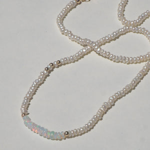 Opal & pearl beaded necklace