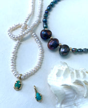 Turquoise rustic drop pendant & pearl beaded necklace