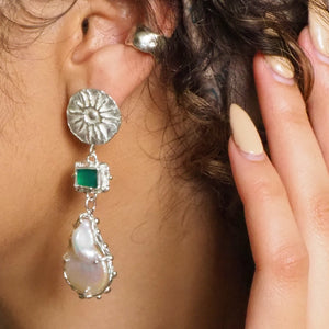 Preorder - Paradise pearl & green onyx statement earrings