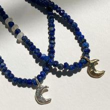 Crescent moon faceted lapis beaded necklace