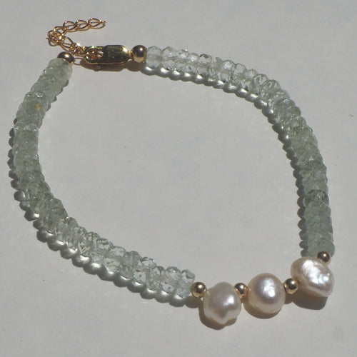 Faceted aquamarine & freshwater pearl drop beaded bracelet