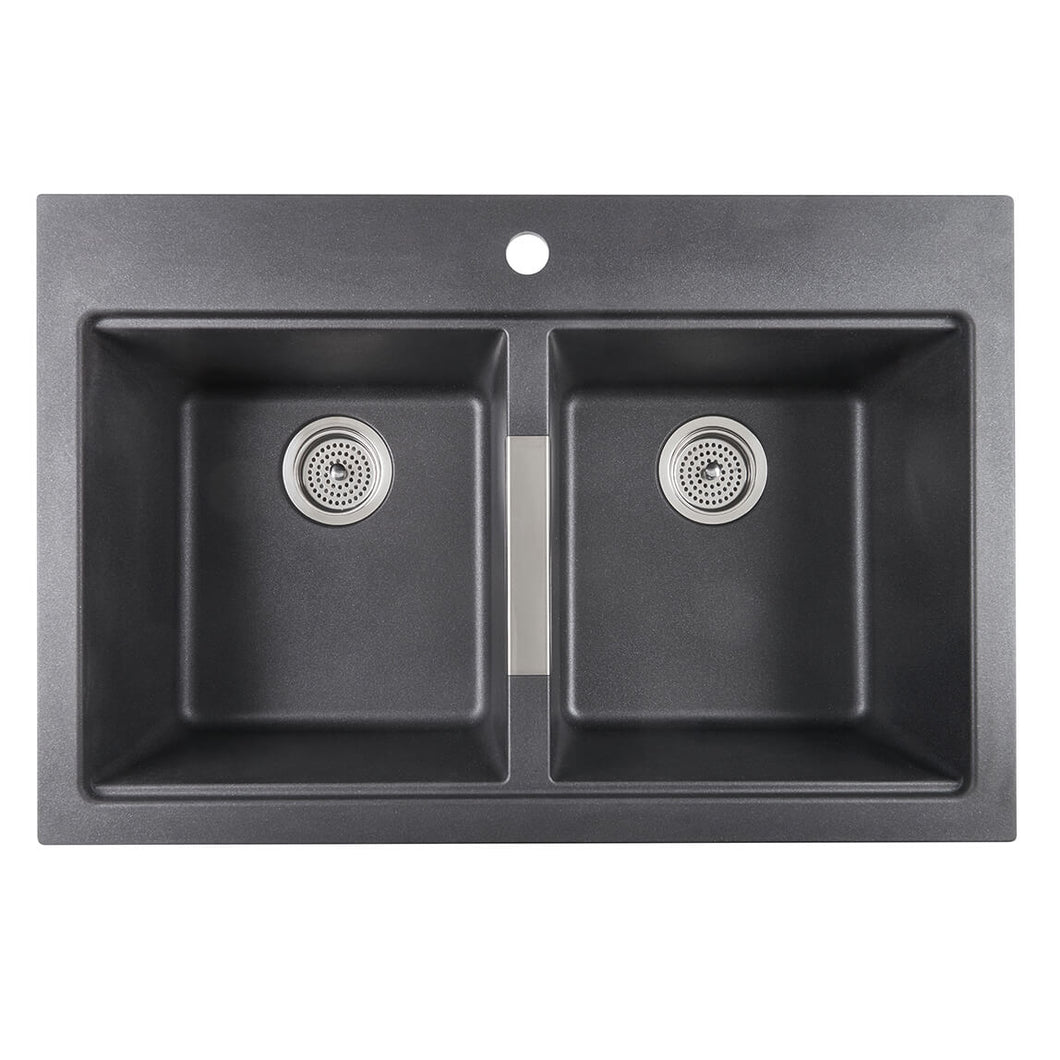 Double Bowl Granite Sink Black