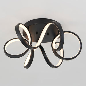 Swirl Ribbon LED Ceiling Light Black