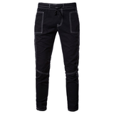 Autumn and Winter Men's Jeans Men's Youth Stretch Solid Color Rope Casual Trousers