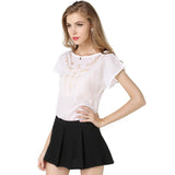 Carved openwork short-sleeved chiffon shirt