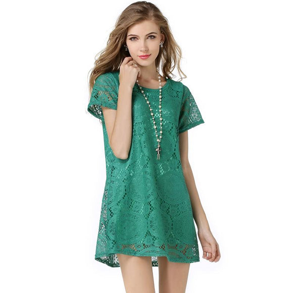 Short-sleeved openwork lace dress