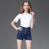 Slim-fit high-rise denim shorts