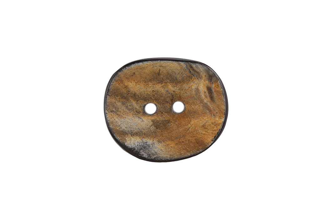 Skacel Collection - Button, Brown and Black Horn Oval, 30x24mm