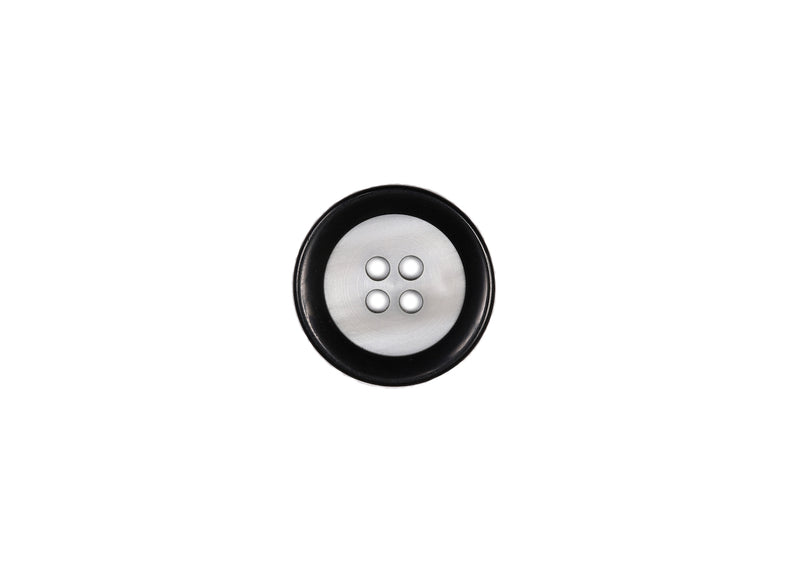 Skacel Collection - Button, Concave White with Black Rim, 20 mm
