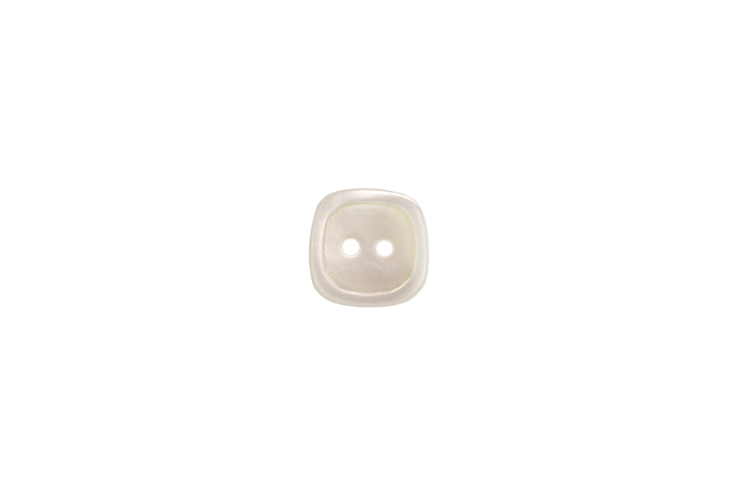 Skacel Collection Button - Rounded Square White Shell, 15mm