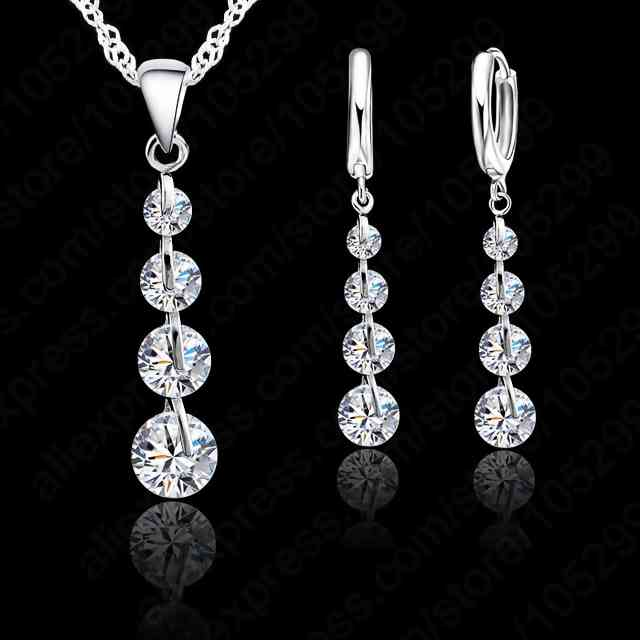 Women's 925 Sterling Silver Link Chain Crystal Pendant Jewelry Set