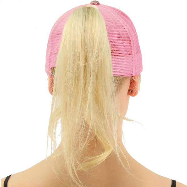 Women's Sparkle Trucker Style Baseball Hat For High Ponytail