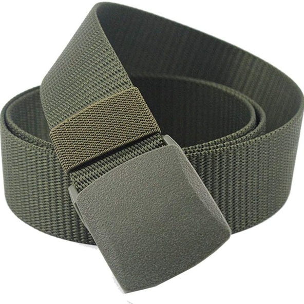 Military Tactical Webbing Non-Metal Belt - Airport Friendly Mens Womens Nylon Belts Plastic Buckle Holster Mate