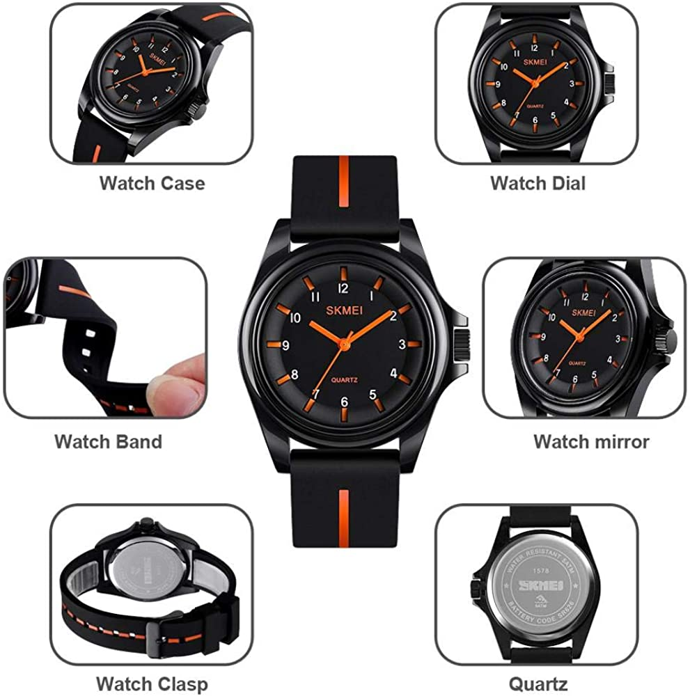 Boys Analog Watch, Waterproof Analog Quartz Watch Casual Dress Wrist Watch with Numbers Second Hands