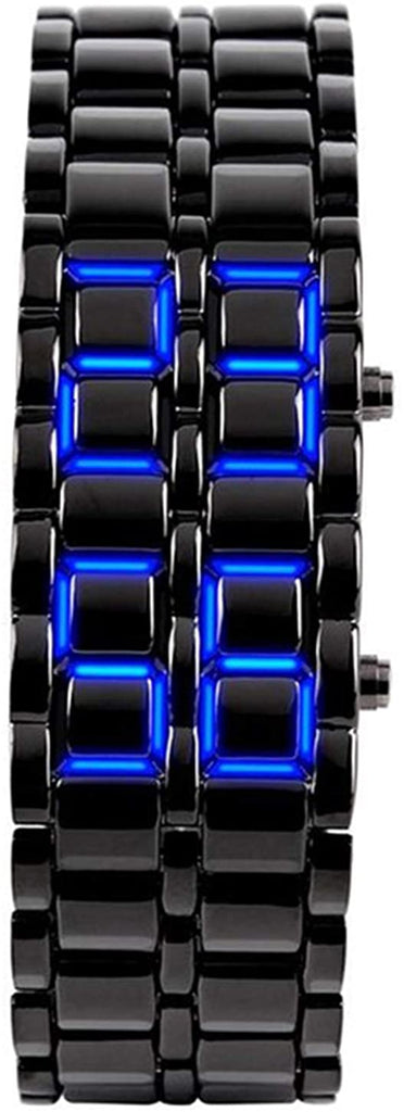 Mens Casual Simple Youth Sports Watch Electronic Binary Digital LED Lava Alloy Rectangular Chain Watches