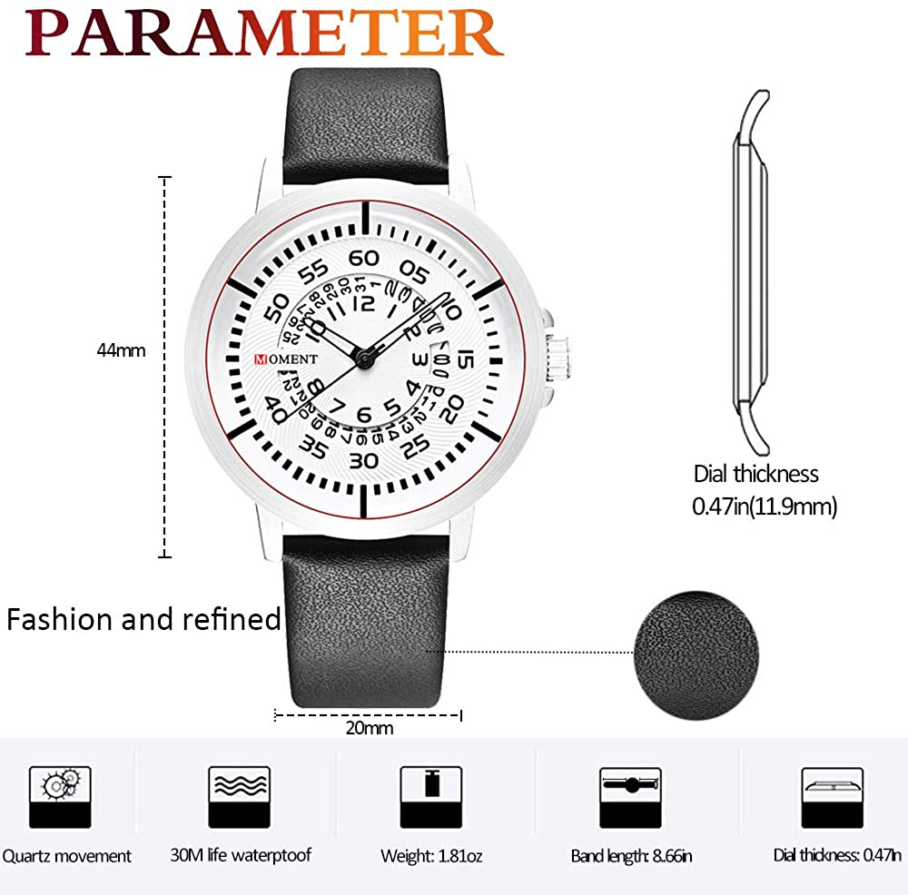 Men's Unique Fashion Casual Watches Designer Quartz Analog Waterproof Wrist Watch Creative Cool Stainless Steel Watch Leather Band Watch