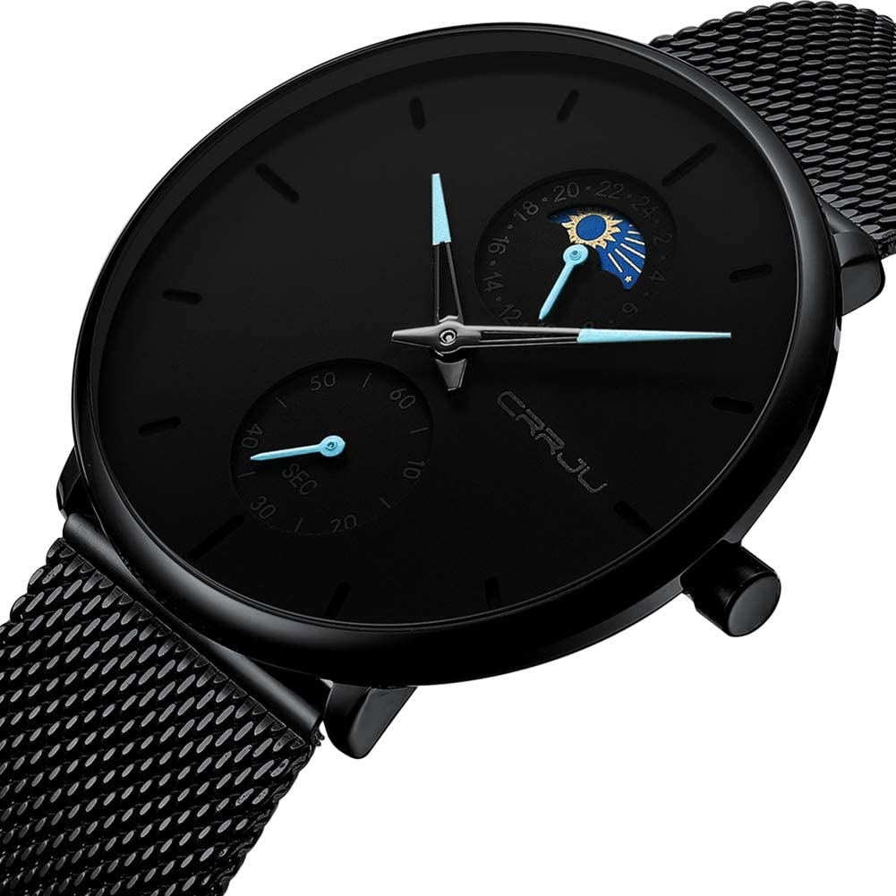 Men's Minimalistic Ultra Thin Quartz Wrist Watch Stainless Steel Mesh Strap Black Casual 24H Display Dress Watch Men Analogue