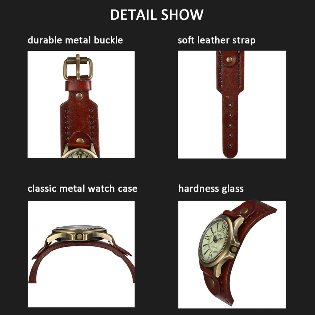 JewelryWe Vintage Wrist Watch Wide Leather Strap Band Cuff Quartz Watches for Men Women, for Valentine's Day