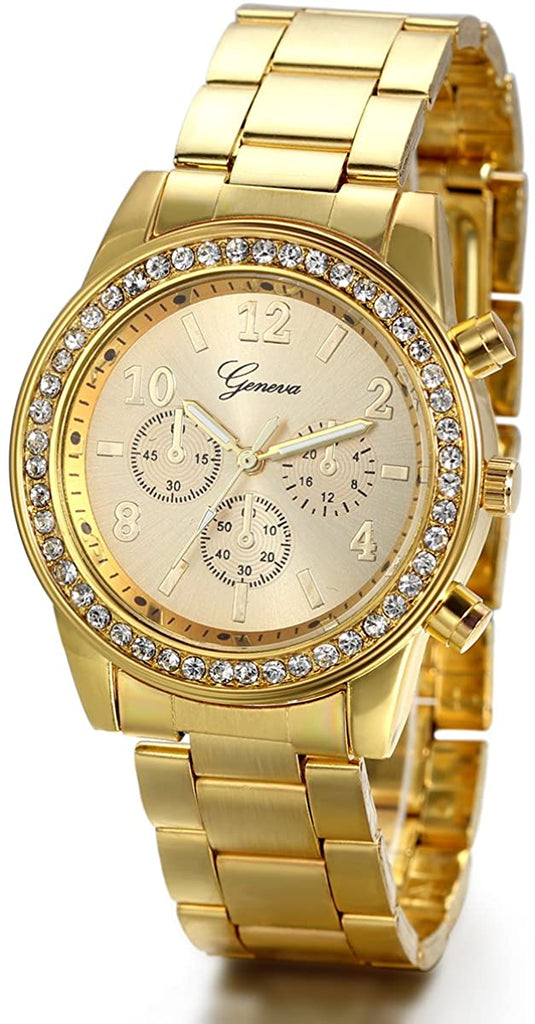 JewelryWe Luxury Mens Dress Watch, Stainless Steel Bling Rhinestones Accented Quartz Wrist Watches - Gold, for Valentine's Day