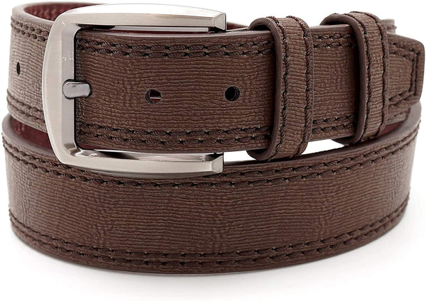 "Faux Leather Double Stitched Belt 1.5"" Wide (BG8262)"