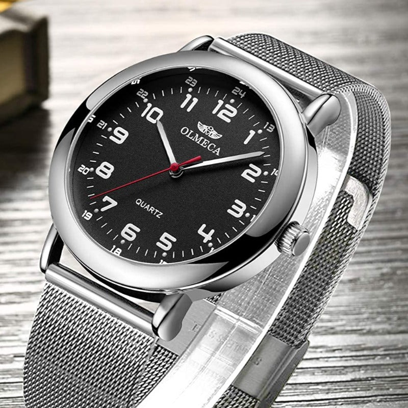 Men's Stainless Steel Waterproof Analog Wristwatch