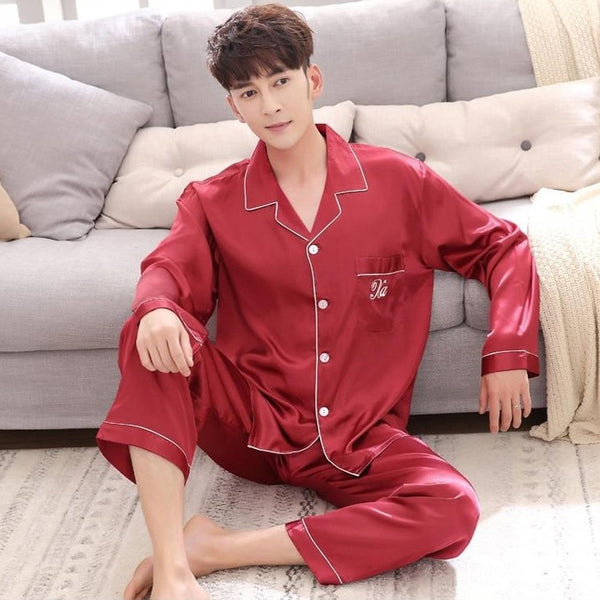 Men's Luxury Satin Pajama Set Sleepwear