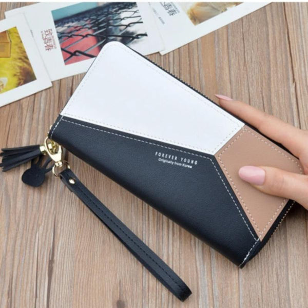 Women's Leather Patchwork Clutch Wallet
