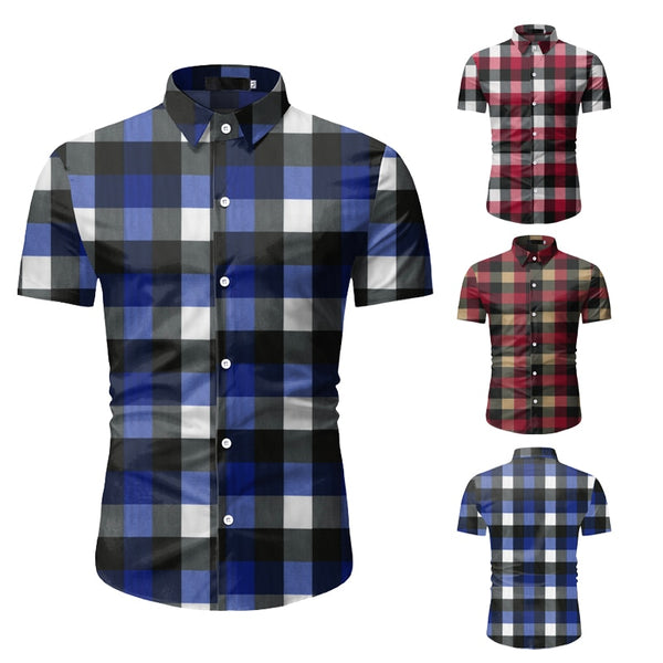 Men's Classic Short Sleeve Button Down Plaid Shirt