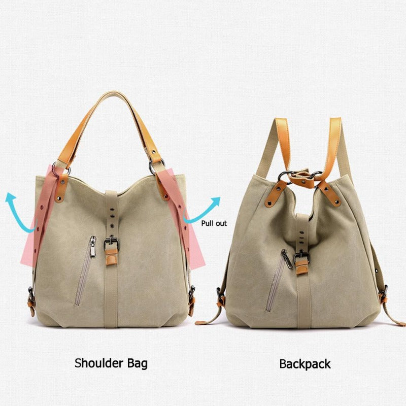 Women's Soft Canvas Multi-Functional Crossbody Bag