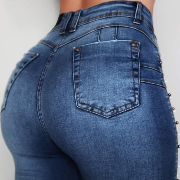 Woman's Embroidered High-Waisted Jeans