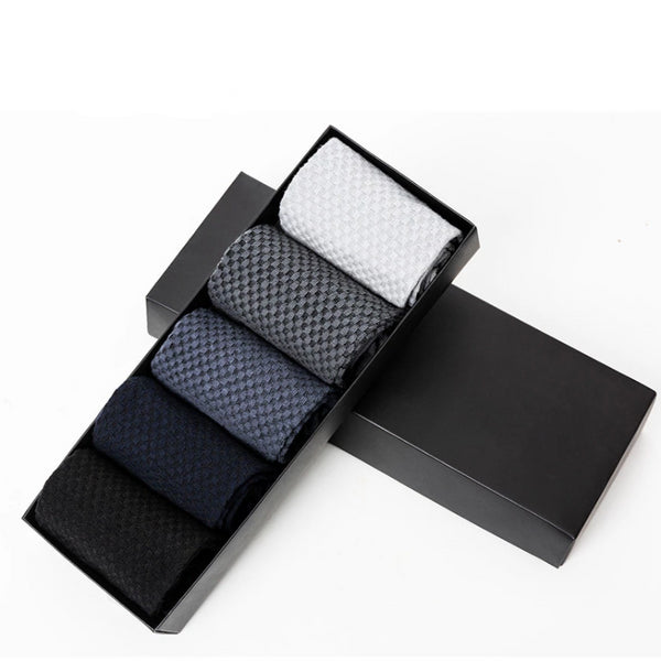 Men's High-Quality Bamboo Business Style Dress Socks 5 Pairs- Greys