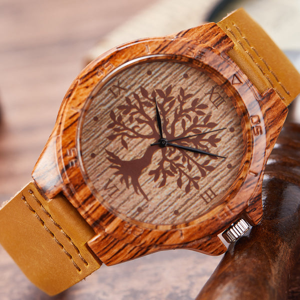 Men's Wood & Leather Quartz Wristwatch tan