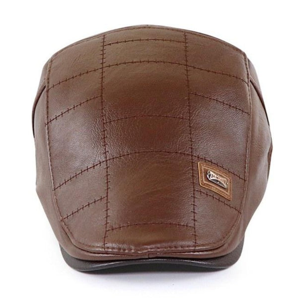 Men's Leather Newsboy Cap