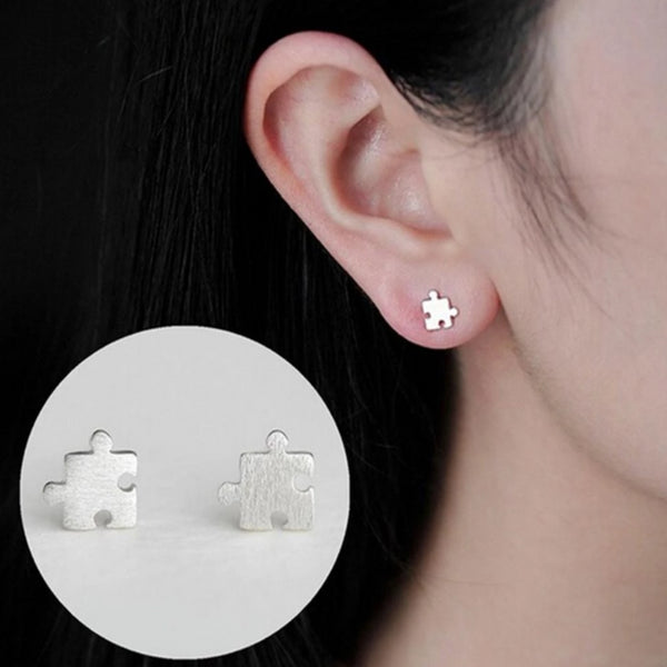 Women's Jigsaw Puzzle Stud Earrings