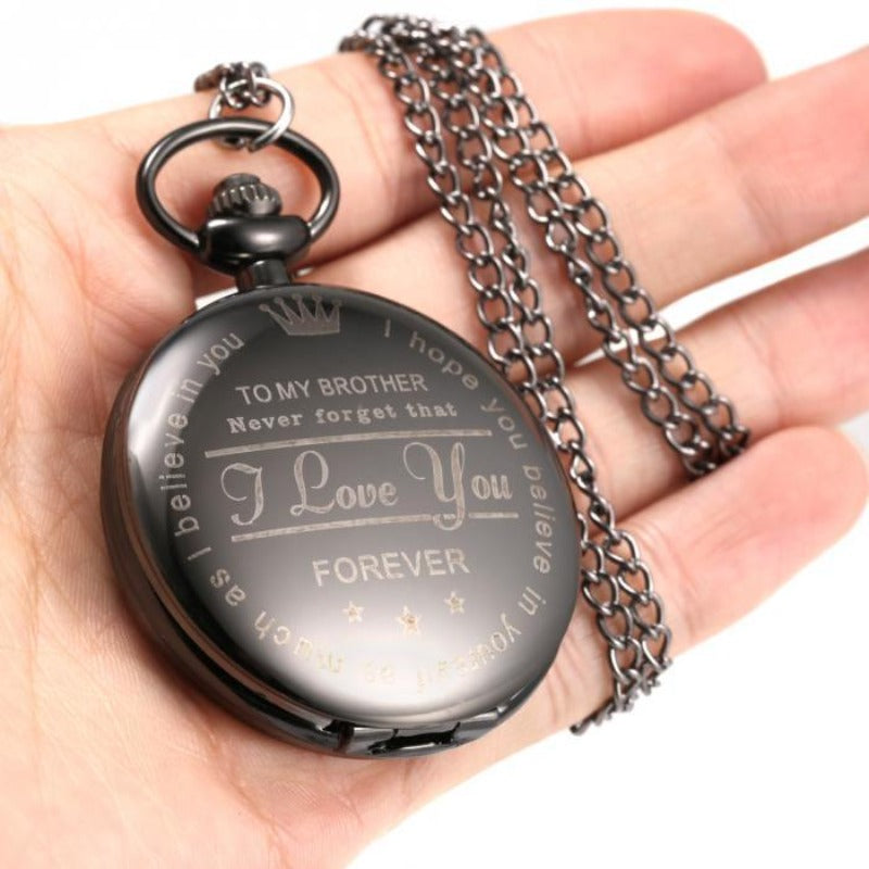 Letter Printed Quartz Pocket Watch With Chain