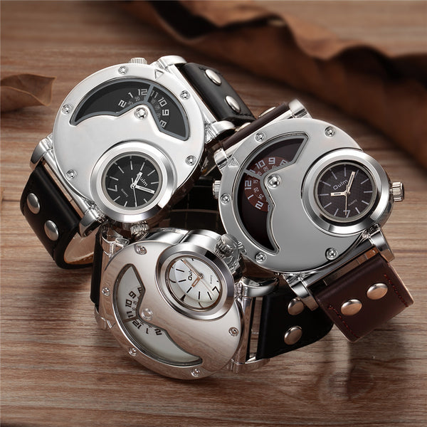 Men's Unique Design Quartz Dual Time Zone Leather Band Watch
