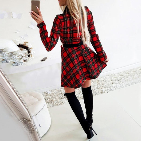 Women's Plaid Christmas Party Dress