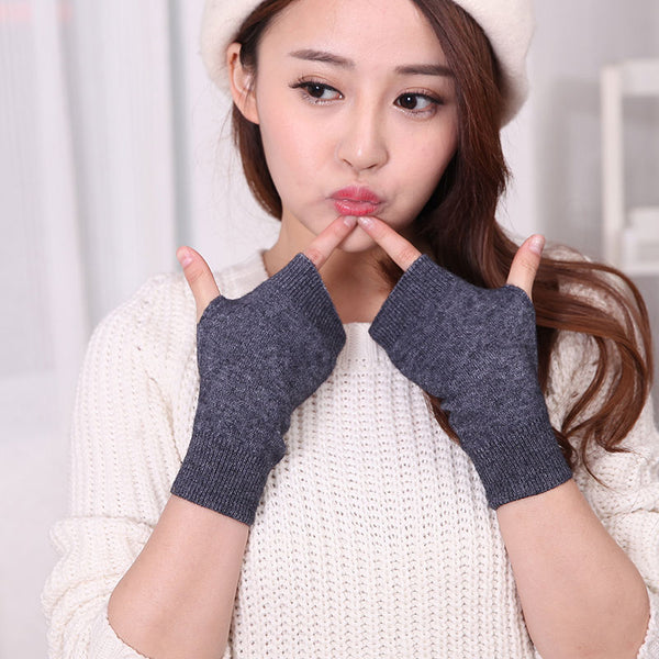 Women's Knitted Fingerless Stretch Mitten Glove