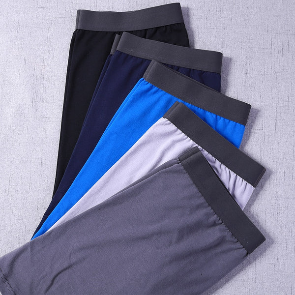 5 Pairs Men's Soft Cotton Long Boxer Briefs
