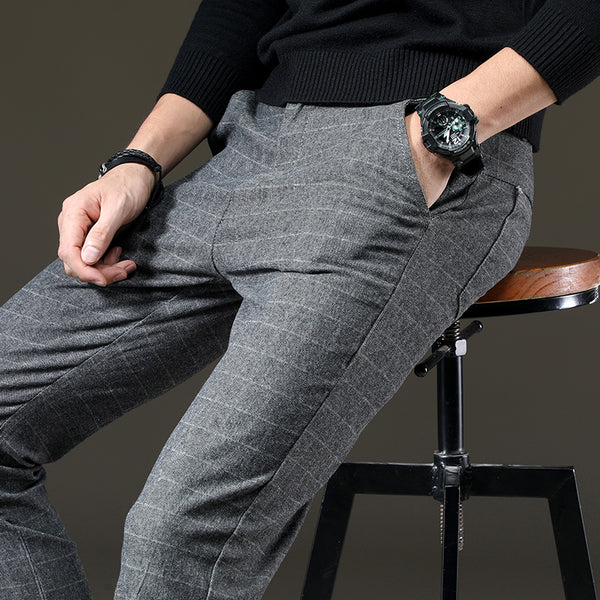 Men's Casual Elastic Long Trousers Work Pants