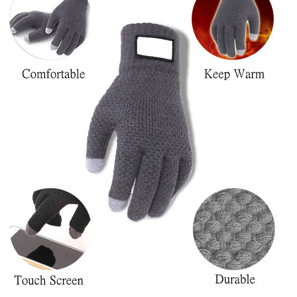 Men's Winter Touch Screen Knitted Gloves