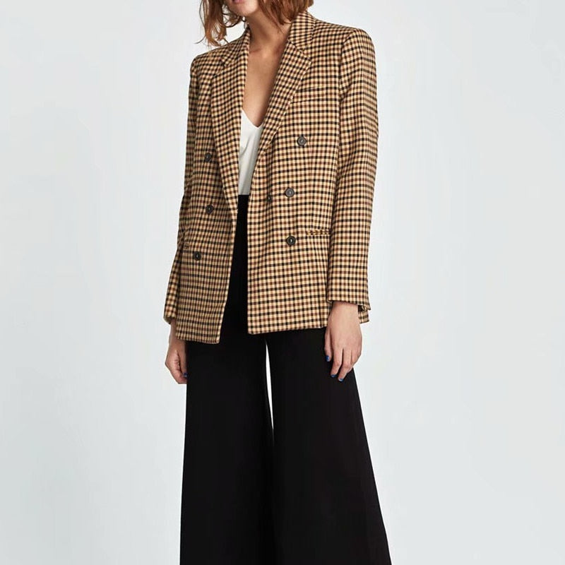 Women's Double Breasted Notched Collar Blazer