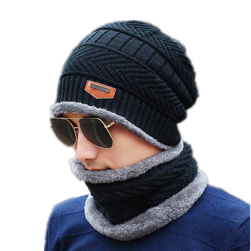Men's Neck Warmer and Winter Knit Hat Set